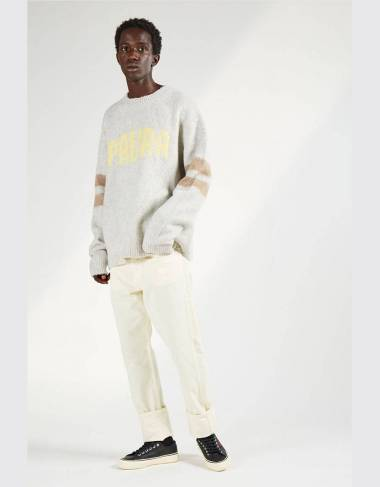 Paura Cristo crewneck knit sweater - Grey/Dove-color/yellow Paura Knitwear 192,62 € -30%