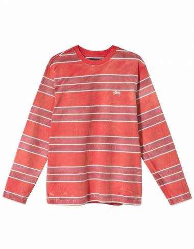 Stussy bleach stripe longsleeve crew - red Stussy T-shirt 96,00 €