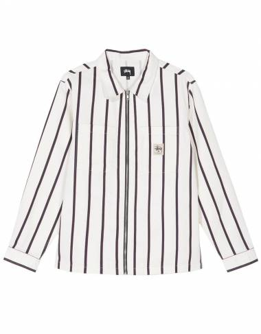 Stussy zip up work shirt - white stripe Stussy Shirt 135,00 €