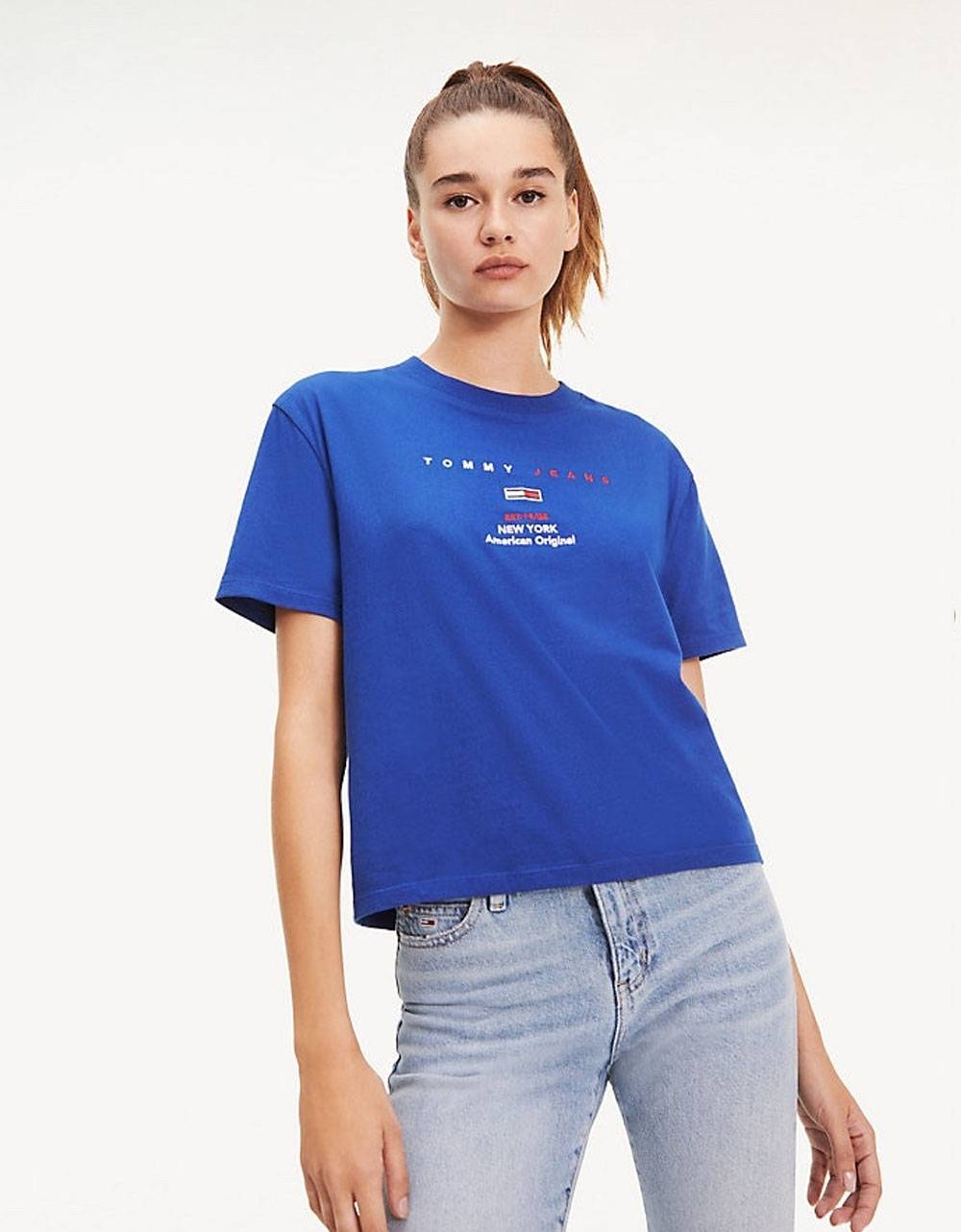 Tommy Jeans woman's small logo text tee - Mazarine blue Tommy Jeans T-shirt 36,89€