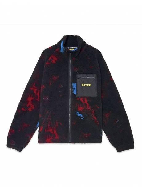 Iuter Tie dye fur zip neck collar sweatshier - Multicolor IUTER Sweater 169,00€