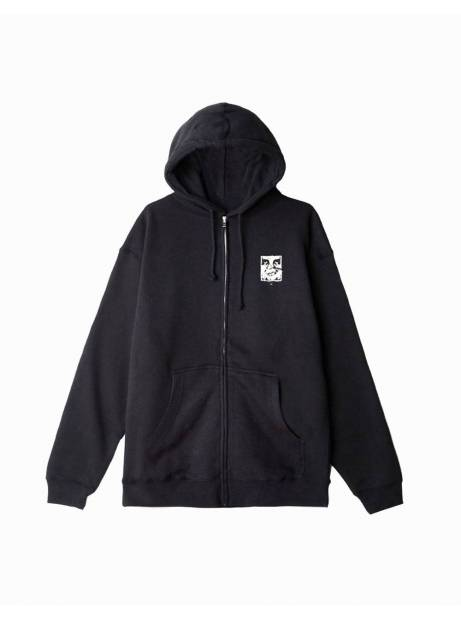 Obey cracked icon premium zip hoodie - black obey Sweater 110,00€