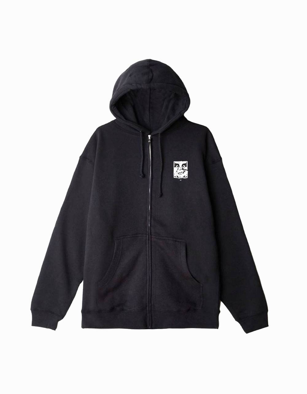 Obey cracked icon premium zip hoodie - black obey Sweater 81,15 €