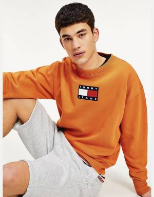 Tommy Jeans small flag crewneck sweater - Bonfire orange Tommy Jeans Sweater 125,00 €