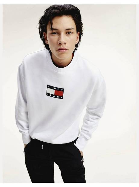 Tommy Jeans small flag crewneck sweater - White Tommy Jeans Sweater 135,00€