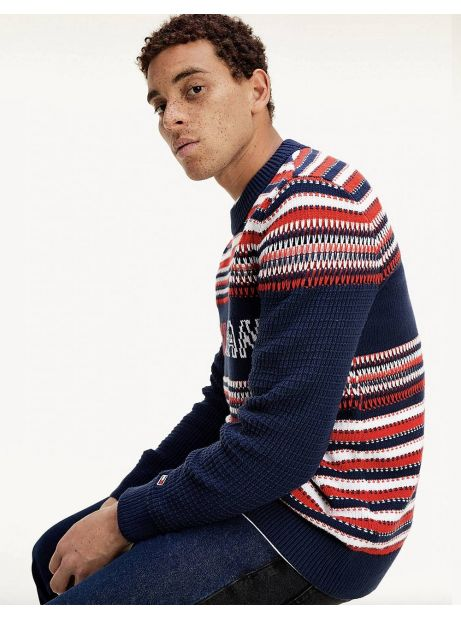 Tommy Jeans Structure mix knit sweater - navy/multi Tommy Jeans Knitwear 125,00 €