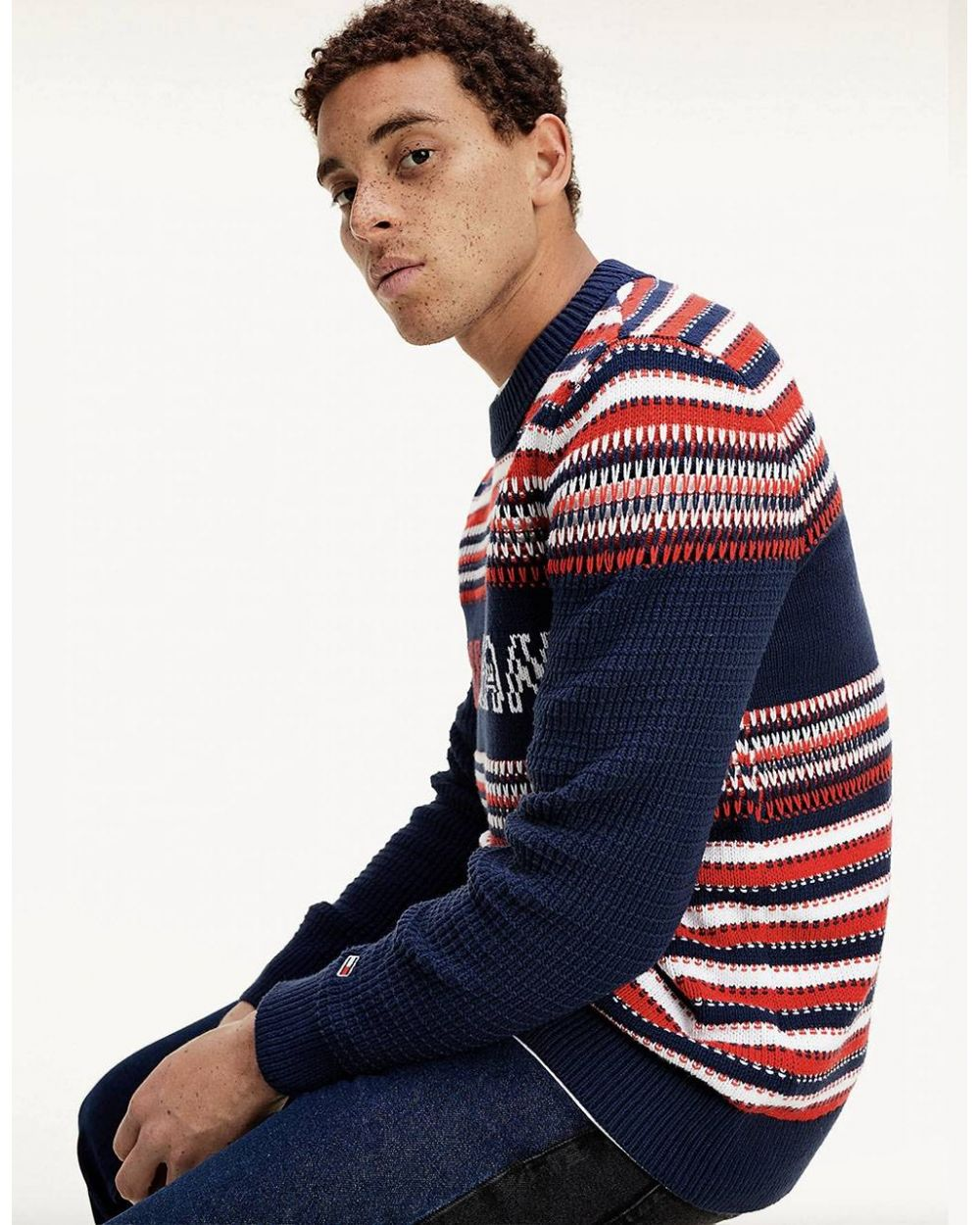 Tommy Jeans Structure mix knit sweater - navy/multi Tommy Jeans Knitwear 132,00 €