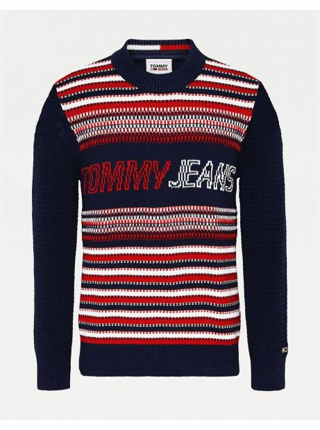 Tommy Jeans Structure mix knit sweater - navy/multi Tommy Jeans Knitwear 108,20€