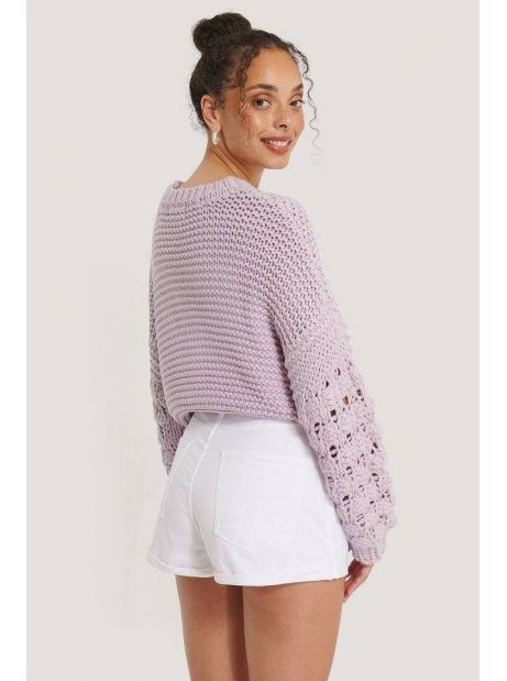 NA-KD bubble sleeve knitted sweater - lilac NA-KD Knitwear 54,10€