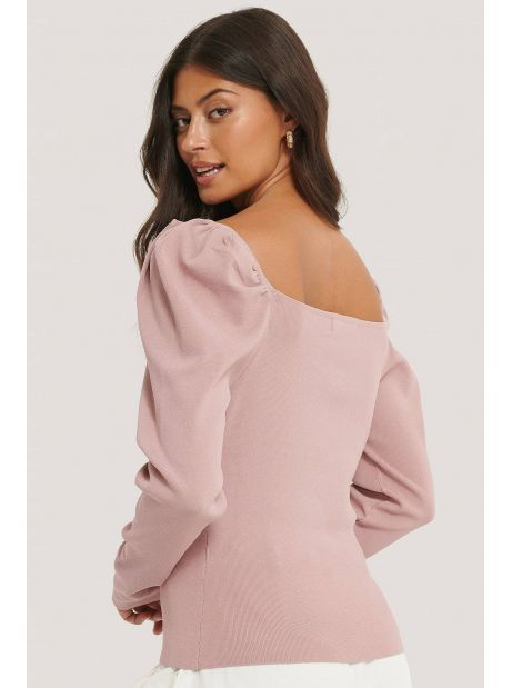 NA-KD light knitted puff sleeve sweater - dusty pink NA-KD Sweater 52,00€