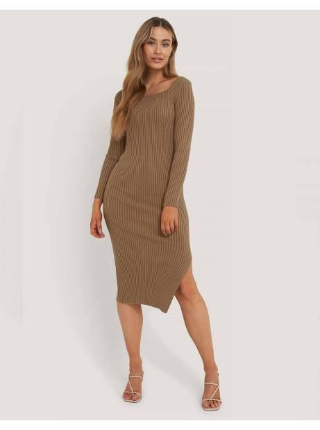 NA-KD square neck side slit midi dress - nougat NA-KD Dress 72,95€