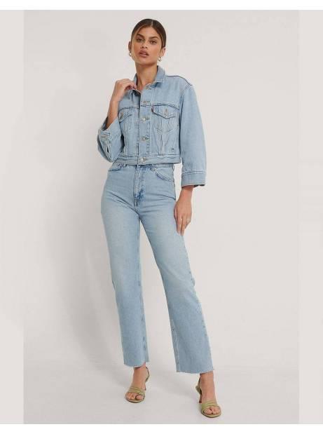 NA-KD straight high waist raw hem jeans - light blue NA-KD Jeans 69,00€