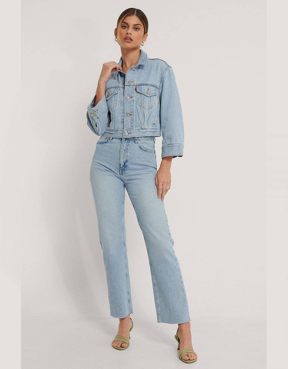 NA-KD straight high waist raw hem jeans - light blue NA-KD Jeans 56,56 €