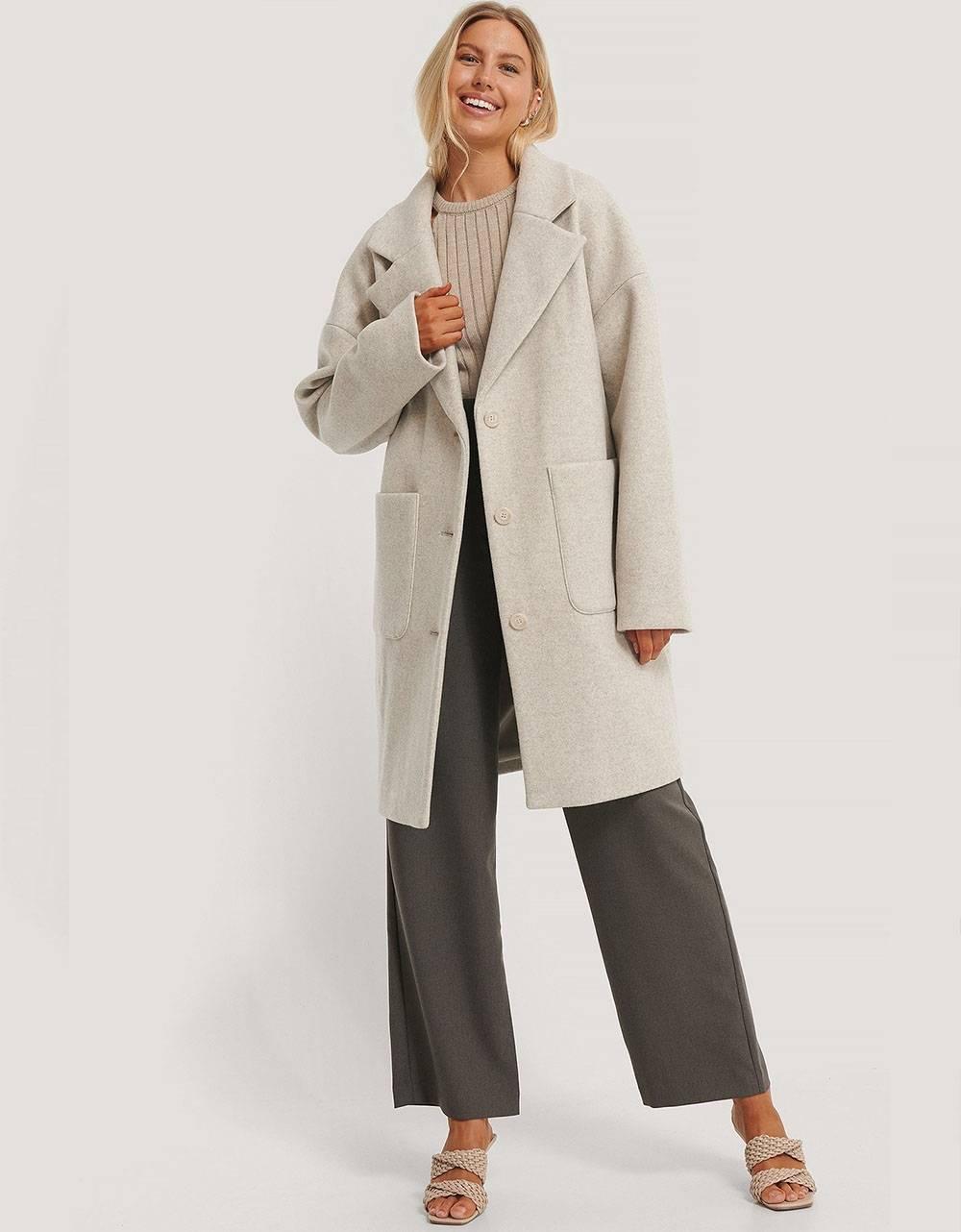 NA-KD wool blend dropped shoulder coat - grey NA-KD Coat 110,00€