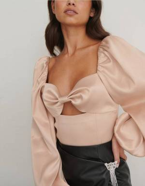 NA-KD balloon sleeve cut out top - dusty pink NA-KD Shirt 59,00 €