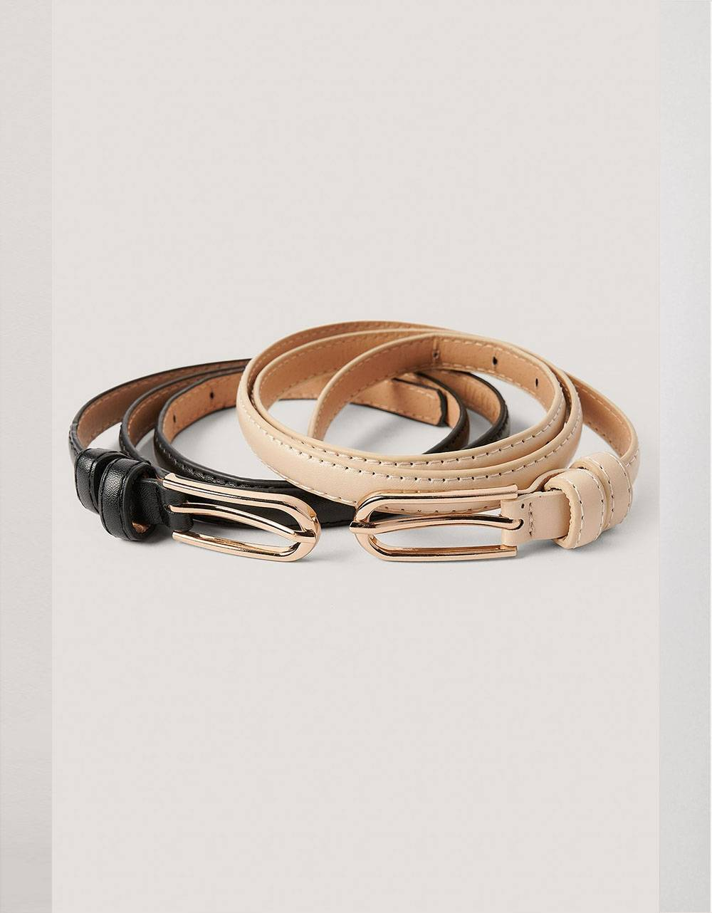 NA-KD double pack oval buckle belt - black/beige NA-KD ACCESSORIES 22,13 €