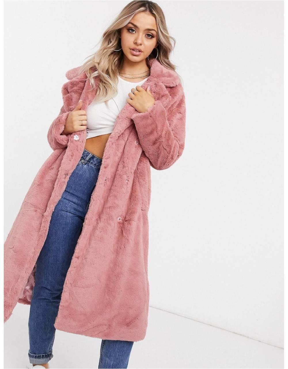 NA-KD faux fur coat - dusty rose NA-KD Coat 114,75€