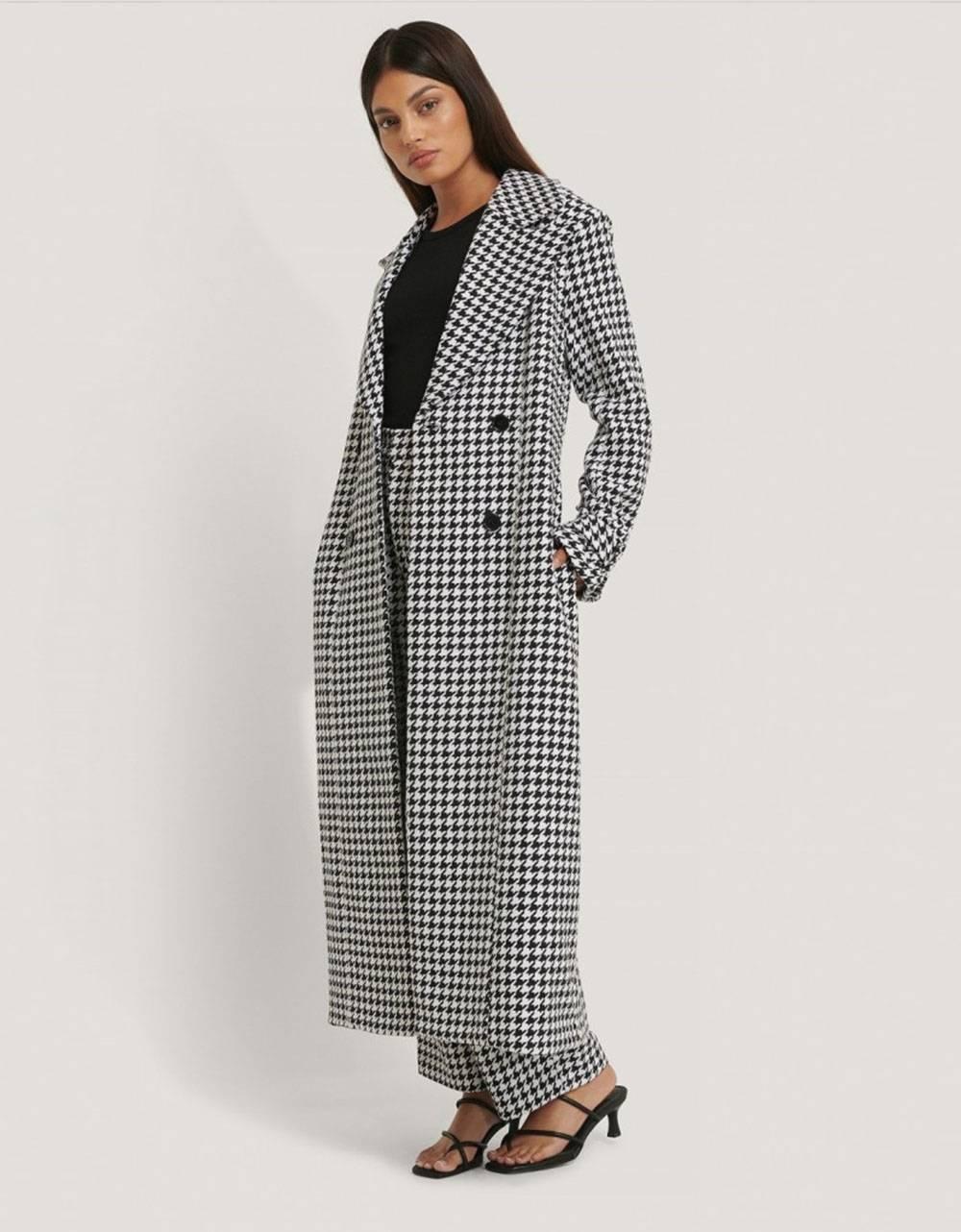 NA-KD houndstooth coat - black/white NA-KD Coat 160,00€