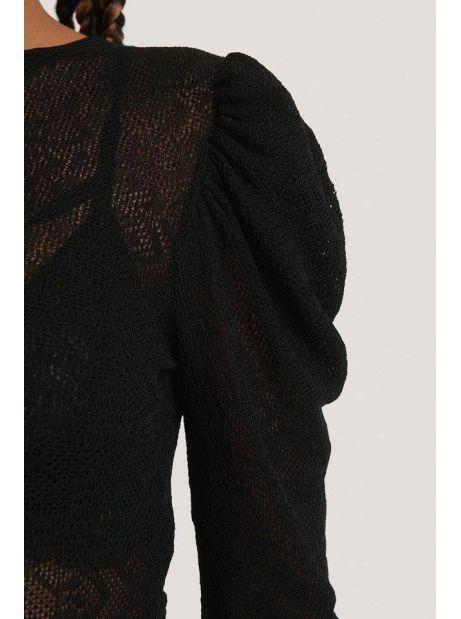 NA-KD structure knit puff sleeve sweater - black NA-KD Sweater 40,16€