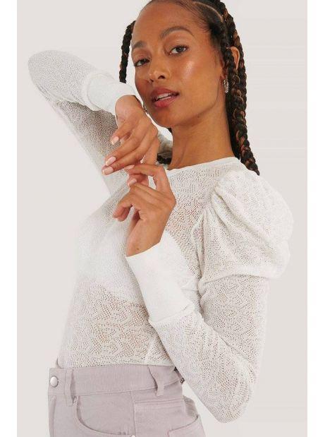 NA-KD structure knit puff sleeve sweater - white NA-KD Sweater 40,16€