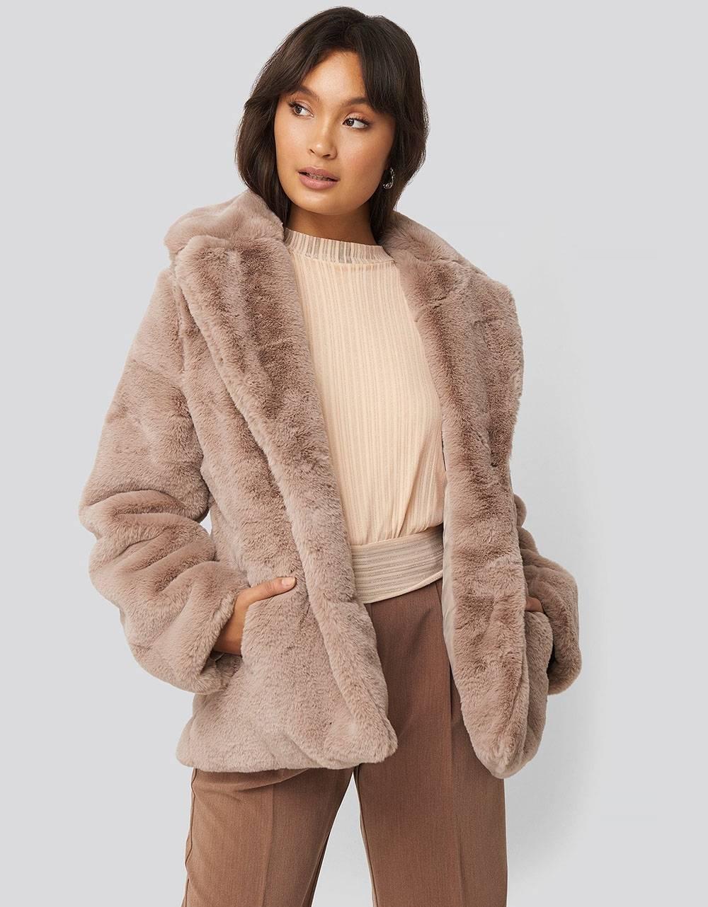 NA-KD colored faux fur short coat - dusty pink NA-KD Coat 115,00€