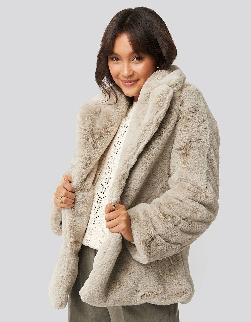 NA-KD colored faux fur short coat - light beige NA-KD Coat 94,26 €