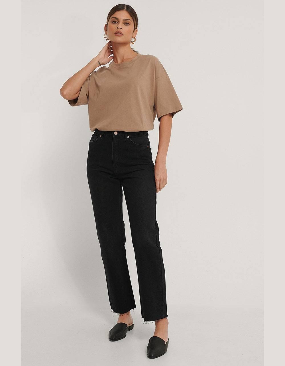 NA-KD organic straight high waist raw hem jeans - washed black NA-KD Jeans 56,56€