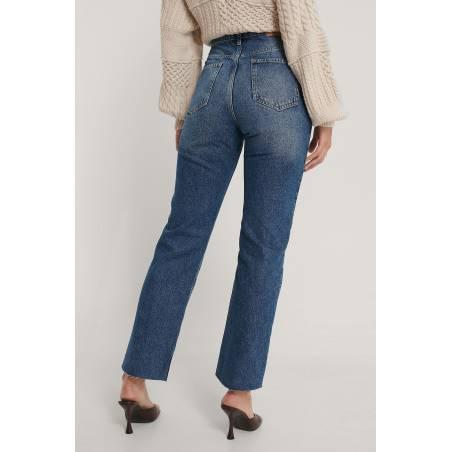 NA-KD organic straight high waist raw jeans - mid blue NA-KD Jeans 65,00€