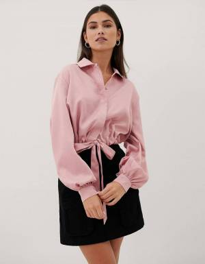NA-KD satin balloon sleeve blouse - pink NA-KD Shirt 59,00 €