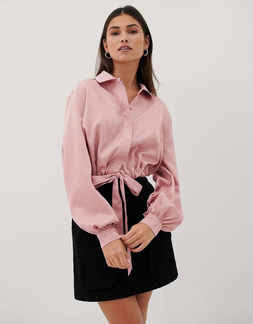 NA-KD satin balloon sleeve blouse - pink NA-KD Shirt 59,00€