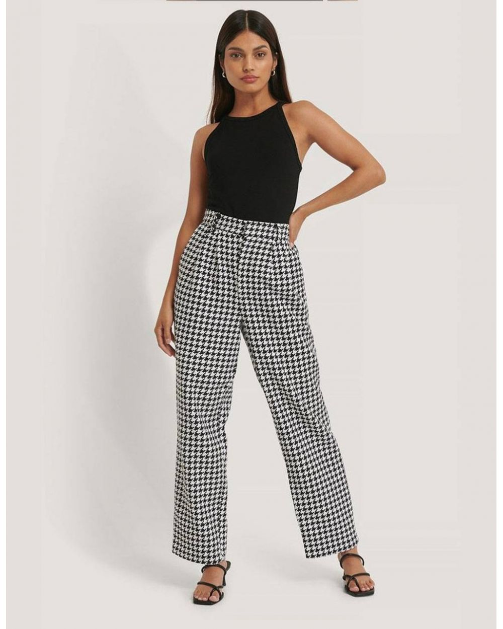 NA-KD wide leg houndstooth pants - white/black NA-KD Pants 69,67 €