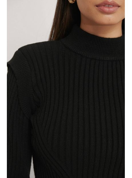 NA-KD Marked Shoulders Knitted Sweater - black NA-KD Sweater 65,00€