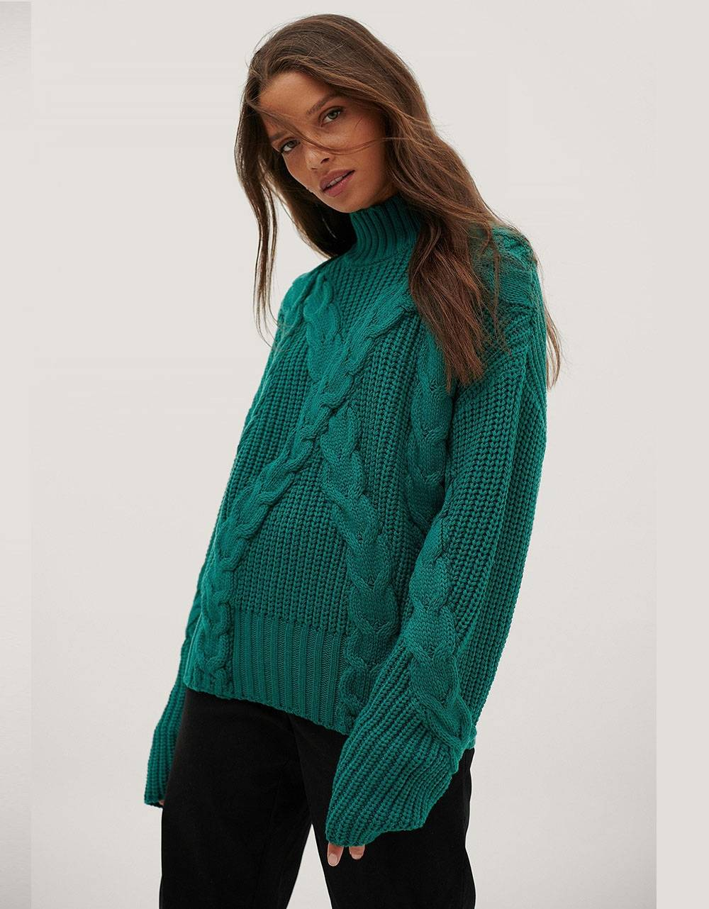 NA-KD oversized cable sweater - emerald NA-KD Sweater 61,48 €