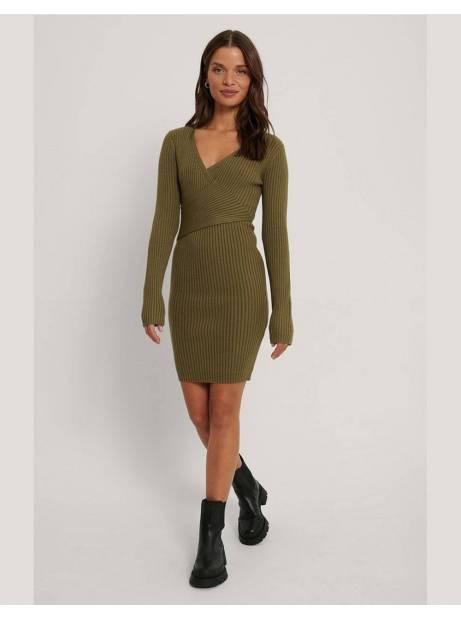 NA-KD ribbed knitted dress - olive green NA-KD Dress 56,56€