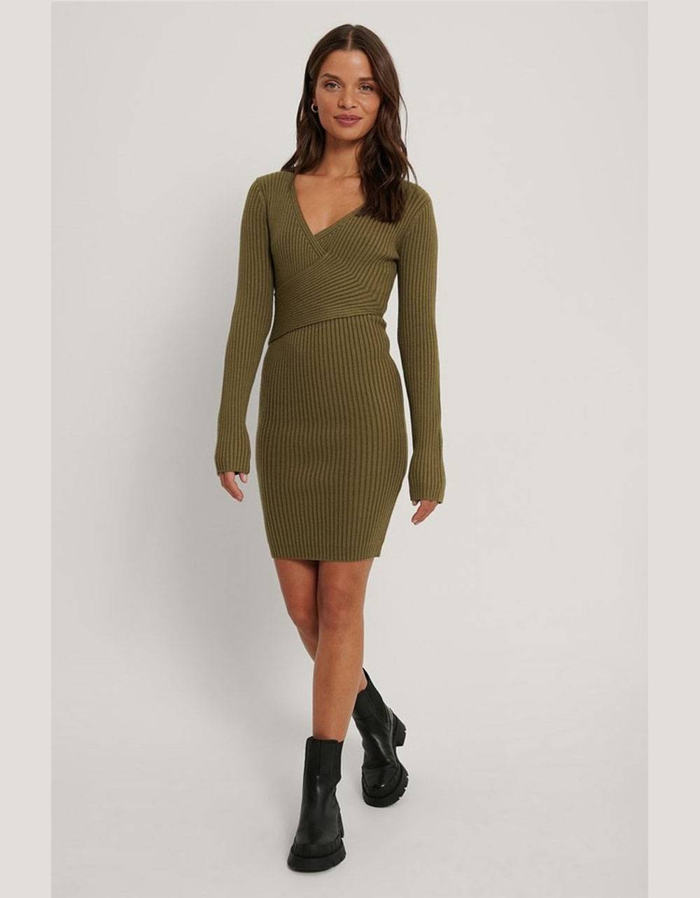 NA-KD ribbed knitted dress - olive green NA-KD Dress 69,00 €