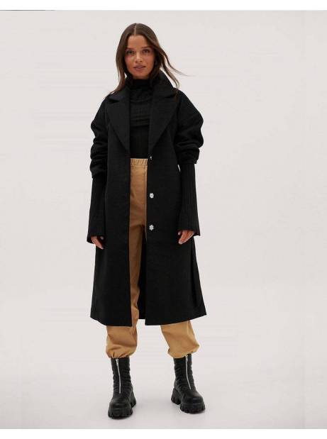 NA-KD ruched wide belt wool coat - black NA-KD Coat 110,66 €