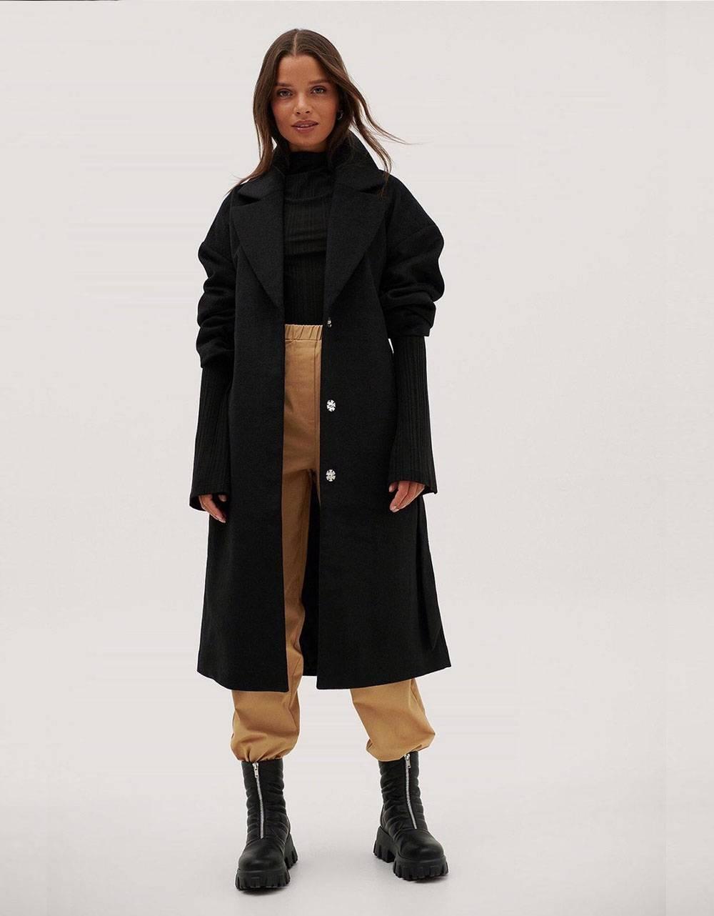 NA-KD ruched wide belt wool coat - black NA-KD Coat 110,66€