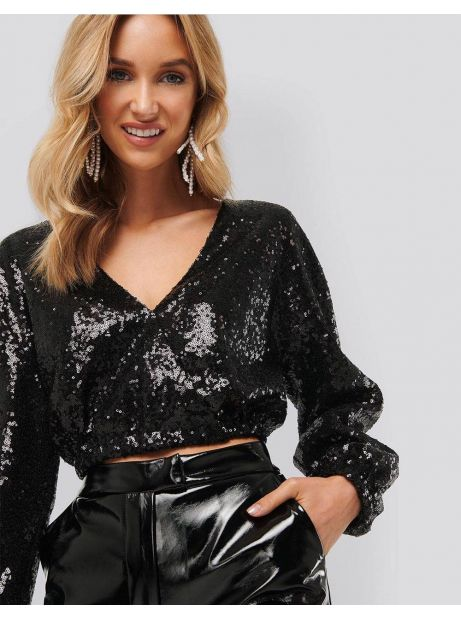 NA-KD overlap sequin top - black NA-KD Sweater 50,00 €