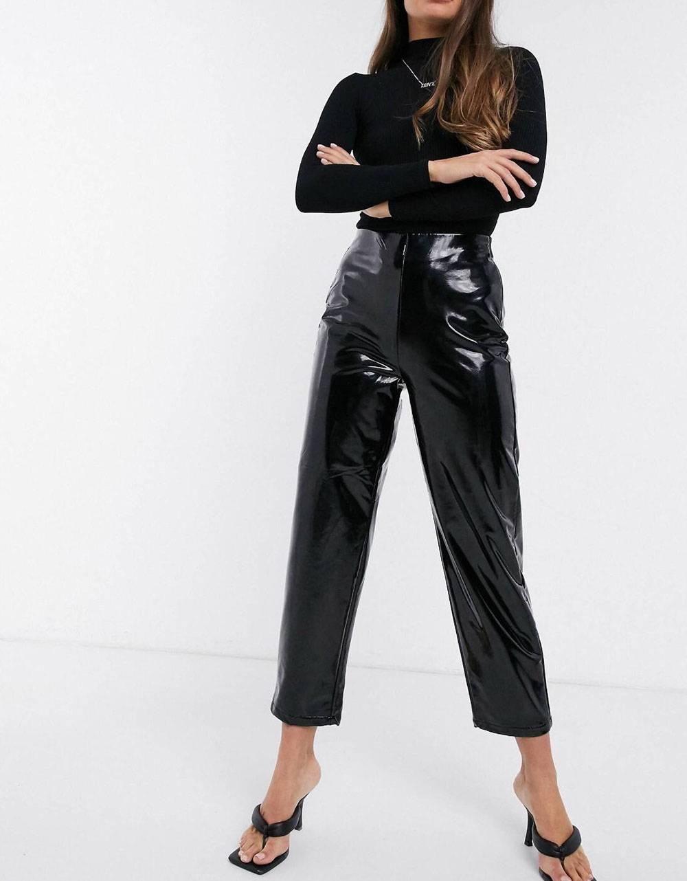 NA-KD high waisted patent pants - black NA-KD Pants 52,00€
