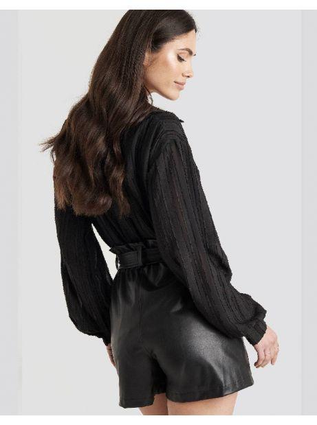 NA-KD faux leather paperbag shorts - black NA-KD Shorts 50,82€