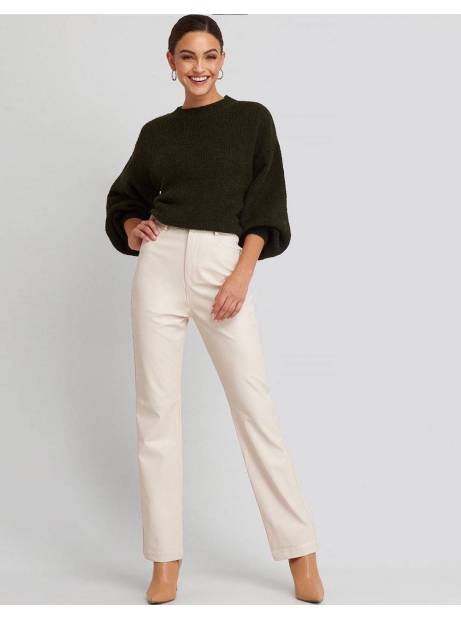 NA-KD straight leg faux leather pants - beige NA-KD Pants 61,48 €