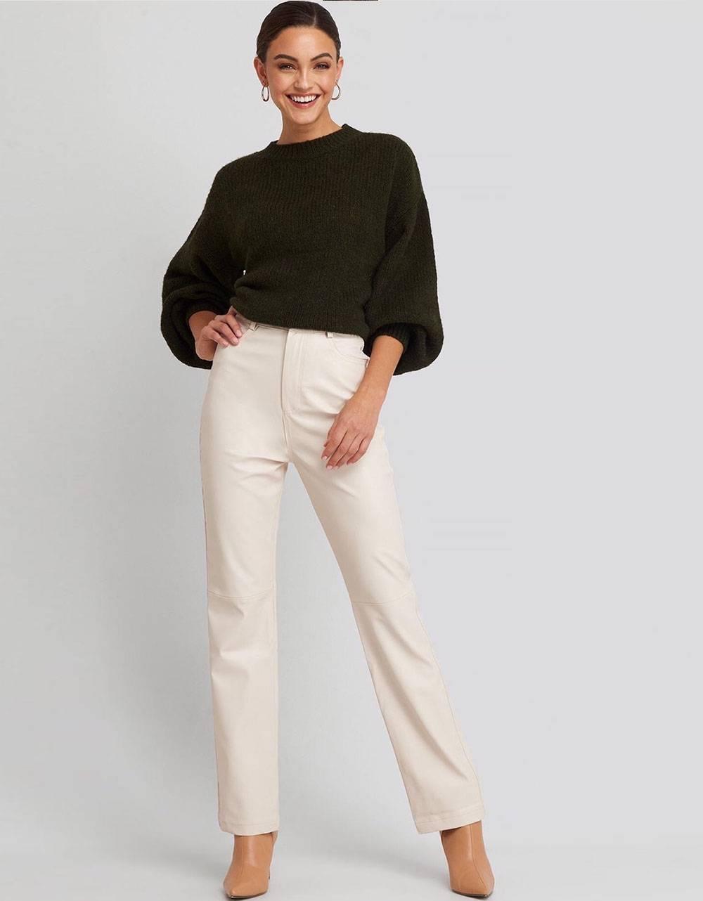 NA-KD straight leg faux leather pants - beige NA-KD Pants 61,48€