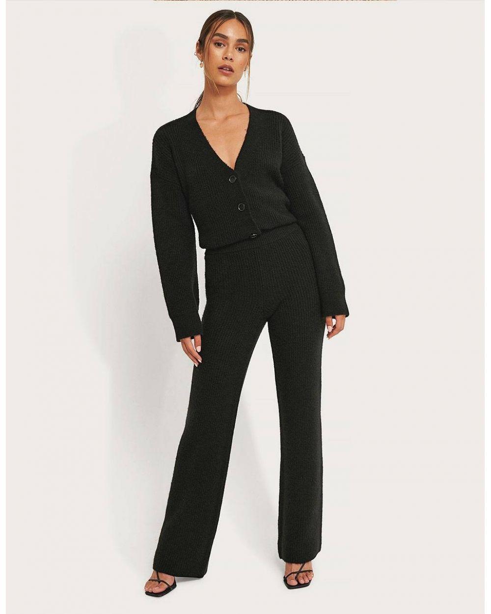 NA-KD High Waist Knitted Pants - black NA-KD Pants 50,82€
