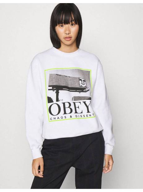 Obey Woman chaos & dissent box fit crewneck sweater - white obey Sweater 81,15 €