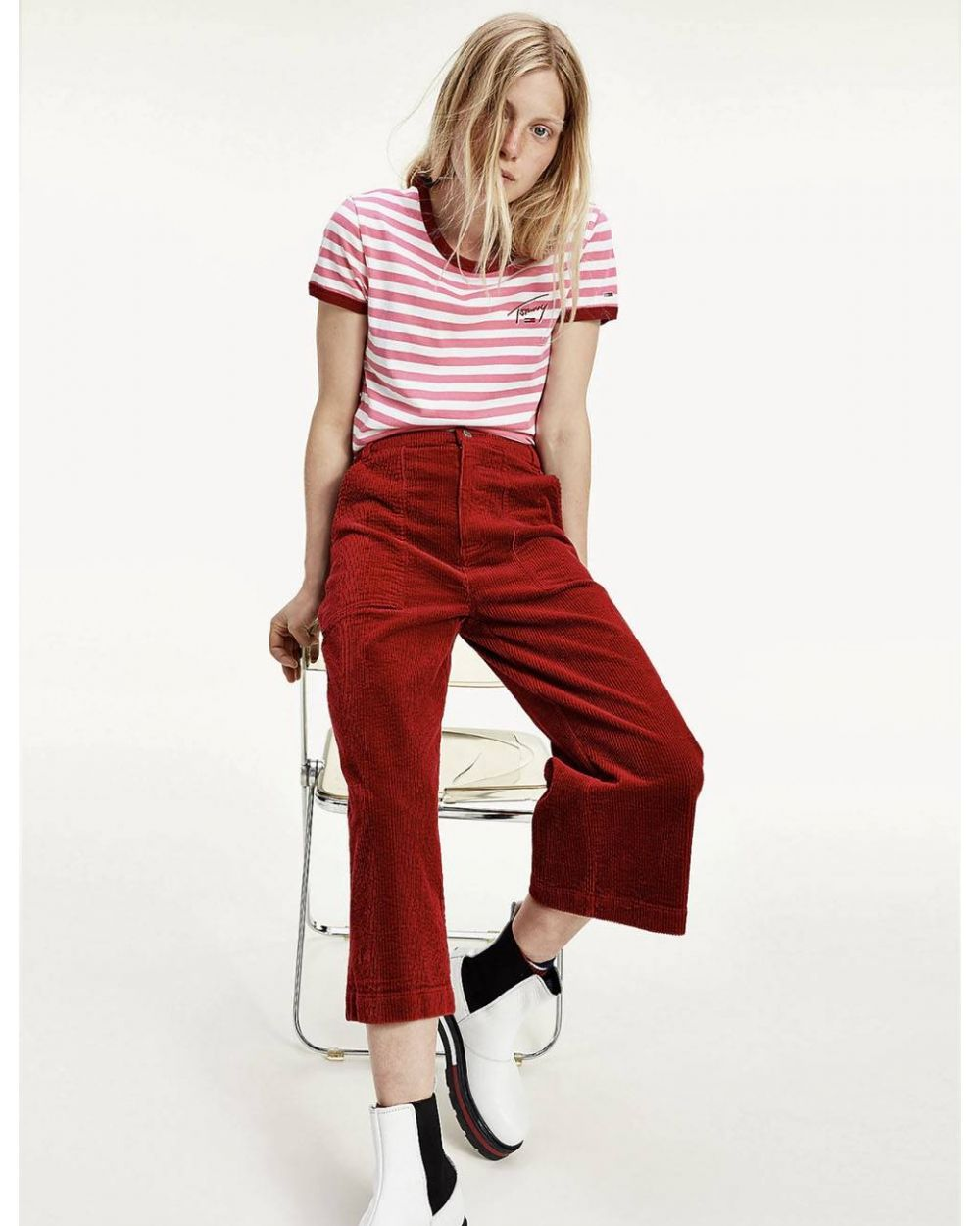 Tommy Jeans woman's Cord wide leg pant - wine red Tommy Jeans Pants 115,00€