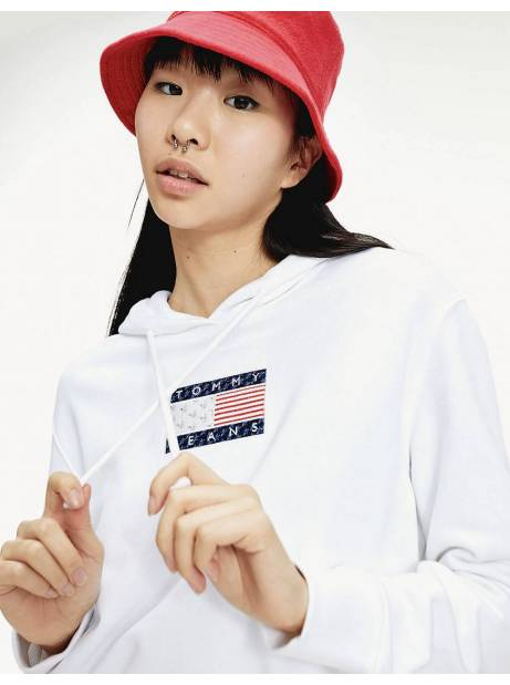 Tommy Jeans woman's Americana Badge crop hoodie - White Tommy Jeans Sweater 110,66 €