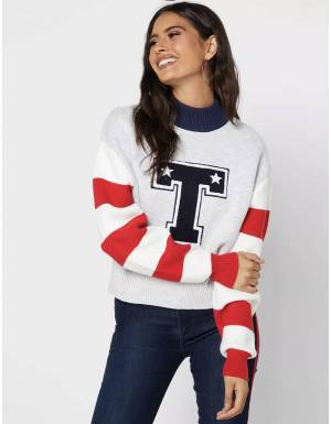 Tommy Jeans woman's Varsity knit sweater - silver grey heather Tommy Jeans Knitwear 113,93 €