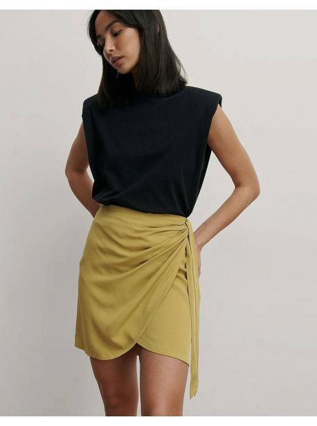 NA-KD overlap side knot mini skirt - olive green NA-KD Skirt 50,00€