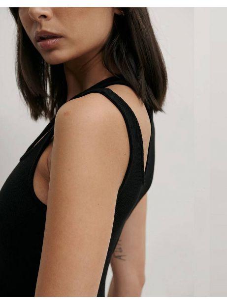 NA-KD cut out ribbed body - black NA-KD Top 35,00€