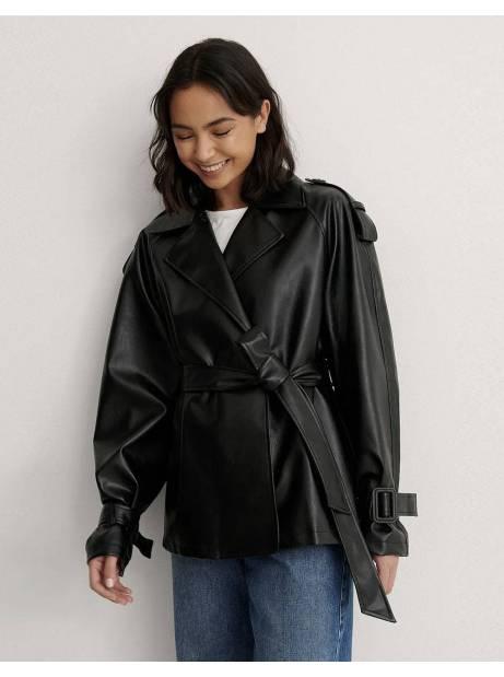 NA-KD belted pu jacket - black NA-KD Jacket 77,87€